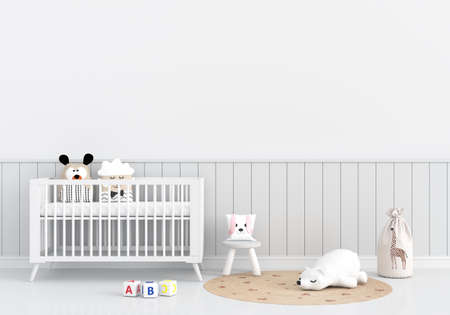 White child room interior with copy space, 3D rendering