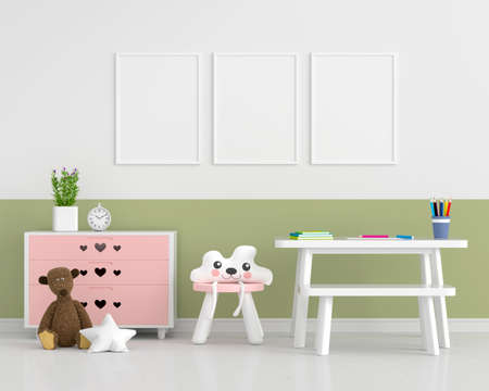 Child room with picture frame mockup, 3D rendering