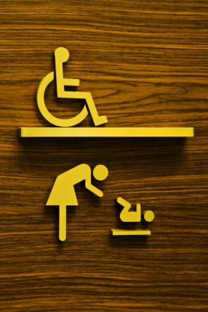 toilet sign for disabilities and child photo