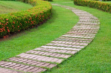 wood lawn: garden stone path with grass