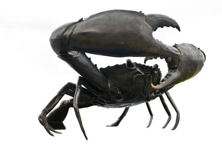 nippers: black crab sculptures in white background Stock Photo