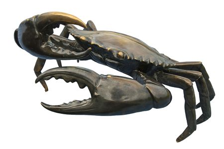 sculpture: black crab sculptures in white background Stock Photo