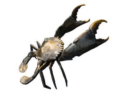 crab legs: black crab sculptures in white background Stock Photo