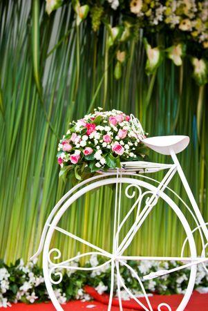 jardines con flores: bicicleta con flor sobre fondo verde