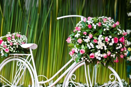 bike with flower on green background photo