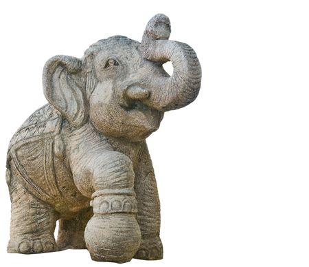 wood figurine: elephant Sculpture isolated on white background