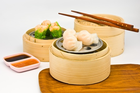 Chinese steamed dimsum in bamboo containers traditional cuisine Stock Photo - 8471150