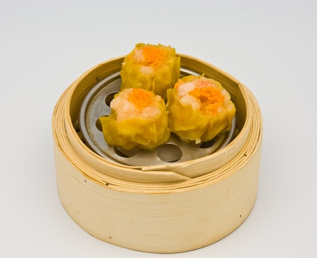 spawn: Chinese streamed spawn dimsum in bamboo containers traditional cuisine Stock Photo