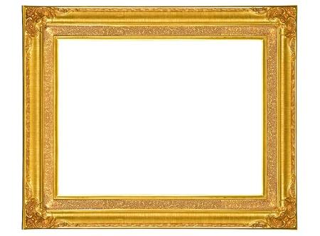 golden wood photo image frame isolated on white background photo