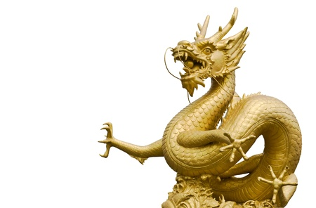 Golden gragon statue in white background Stock Photo - 8681600