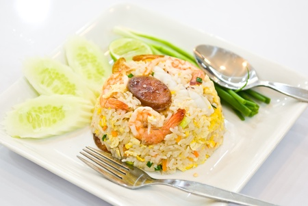 fried rice with shrimp and vegetable