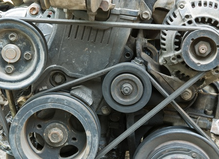 diesel generator: close up part of  old car engine