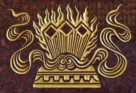 lengnoeiyi: marble carve  gold paint  in temple wall at Wat-Leng-Noei-Yi2 , Bang-Bua-Thong, Nonthaburi, Thailand