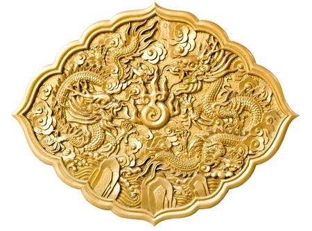 china art: golden dragon decorated on red wood wall,chinese style in temple at Wat-Leng-Noei-Yi2 , Bang-Bua-Thong, Nonthaburi, Thailand