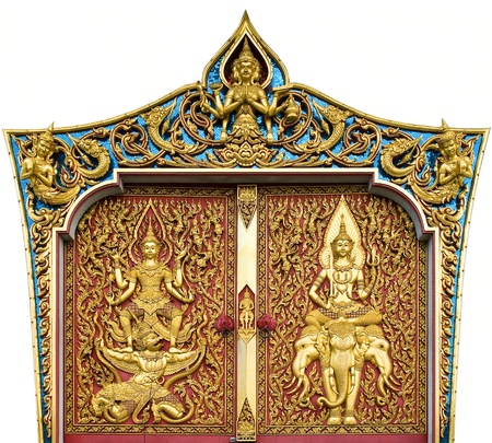 temple door decorated on wood carved gold paint ,thai style in temple at Bangkok, Thailand Stock Photo - 8681646