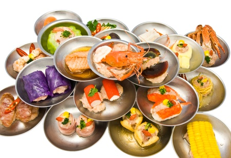 dim: variety of dim sum in small plate Stock Photo