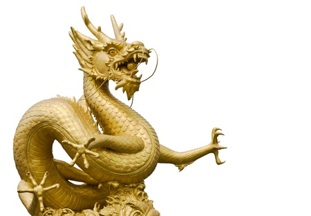 Golden gragon statue in white background Stock Photo
