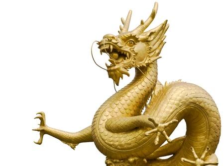 Estatua de oro gragon en fondo blanco Foto de archivo