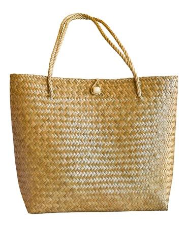 Wicker basket on white background photo