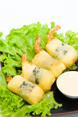 Shrimp fried seaweed roll on the plate. Stock Photo - 9038818