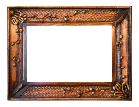 wood photo image frame isolated on white background photo