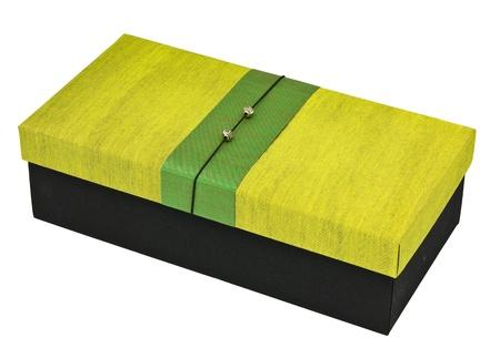 Green silk box on white back ground.
