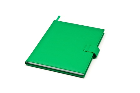 whie: green book on whie background Stock Photo