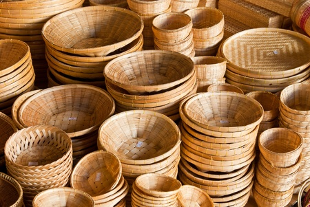 Bamboo basket in market Stock Photo - 9608769