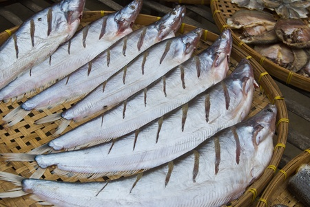 Dry Sheatfish, in a circle on bamboo plate,Siluridae photo