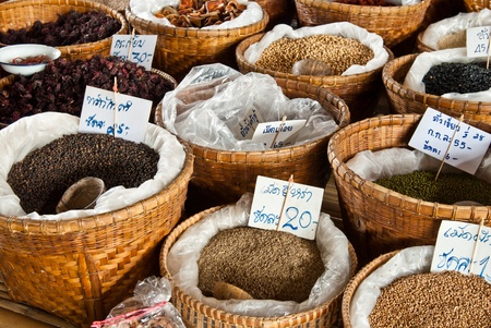 the stalls: Spices and herbs in bamboo basket at market