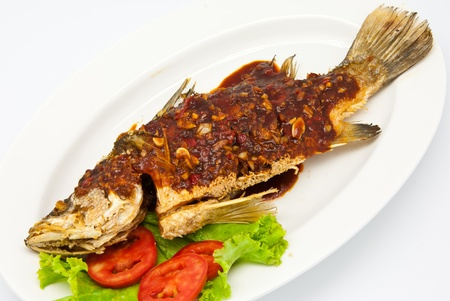 Fried snapper with chili sauce on the plate Stock Photo - 9646778