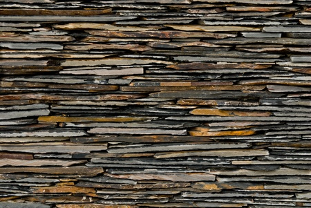 stack stones: pattern of decorate Slate Stone wall Stock Photo