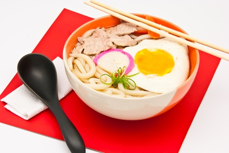 japanese style food, ramen noodles with pork and egg photo
