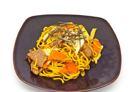 mie noodles: Japanese food style , Noodle in  the plate on white background