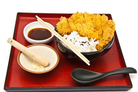 Japanese food style, rice with fried chicken Stock Photo - 9765933