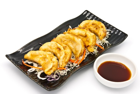 Fried Dumplings Chinese Style Cuisine in the plate photo