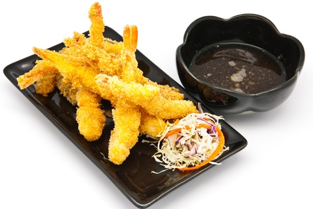 Japanese Cuisine - Deep Fried Shrimps with Vegetables in the plate photo