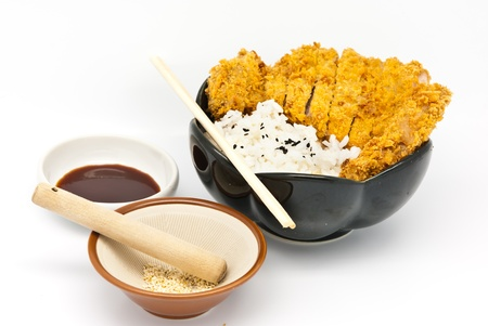 Japanese food style, rice with fried chicken Stock Photo - 9873518