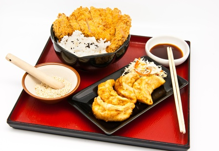 potstickers: Japanese food style, rice with fried chicken and Fried Dumplings Stock Photo