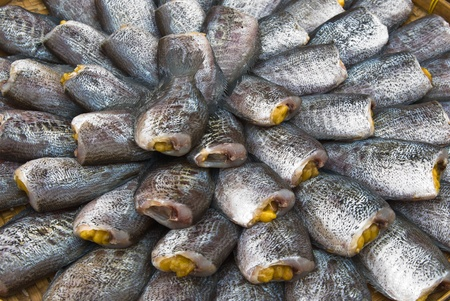 Dry Gourami fish, in a circle on bamboo plate photo