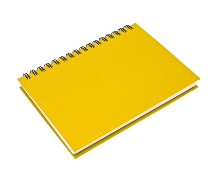 stack of ring binder book or yellow notebook isolated on white background photo