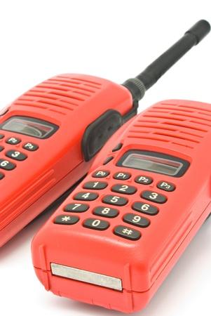 Red radio communication on white background Stock Photo - 9992453