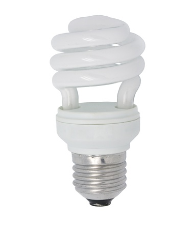 close up the energy saving lamp on a white background photo