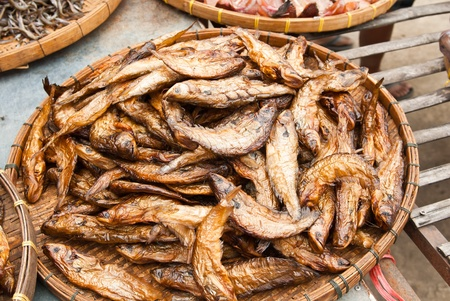 treated: Dry Sheatfish, in a circle on bamboo plate,Siluridae