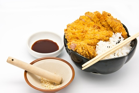 Japanese food style, rice with fried chicken photo