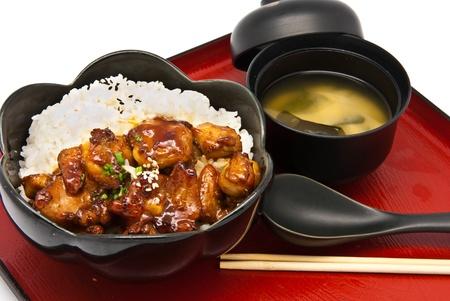 comida japonesa: Conjunto de Bento, estilo de comida japonesa, arroz con pollo Teriyaki Foto de archivo
