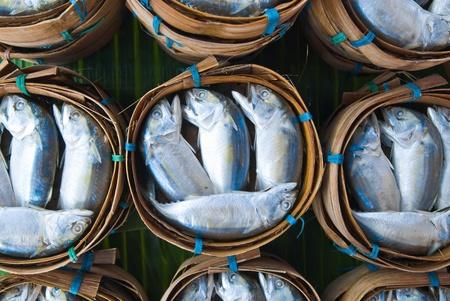Mackerel fish in bamboo basket at market, Thailand photo