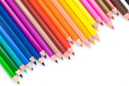 learn and lead: colored pencils isolated on white background Stock Photo