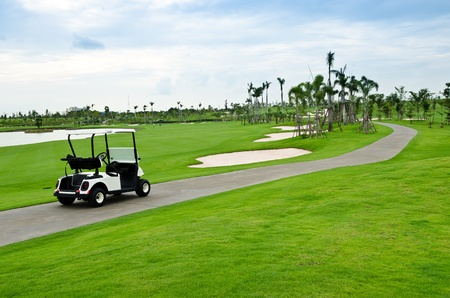 view of golf cart at golf course, Thailand Stock Photo - 10424693