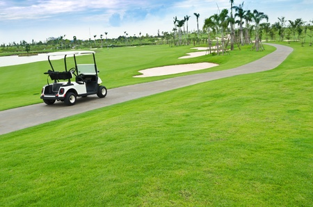 view of golf cart at golf course, Thailand Stock Photo - 10600608